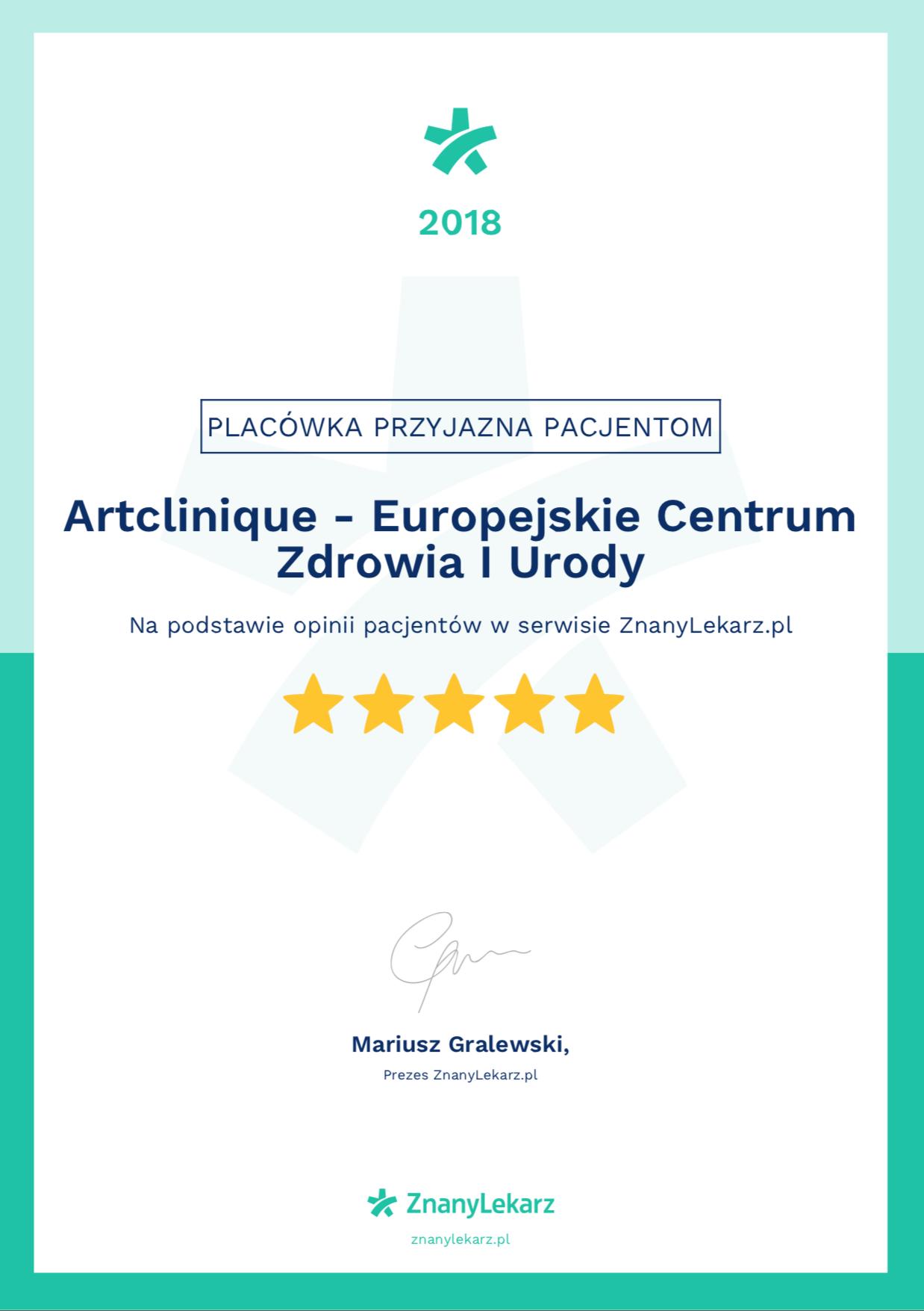 certyfikat znany lekarz ArtClinique